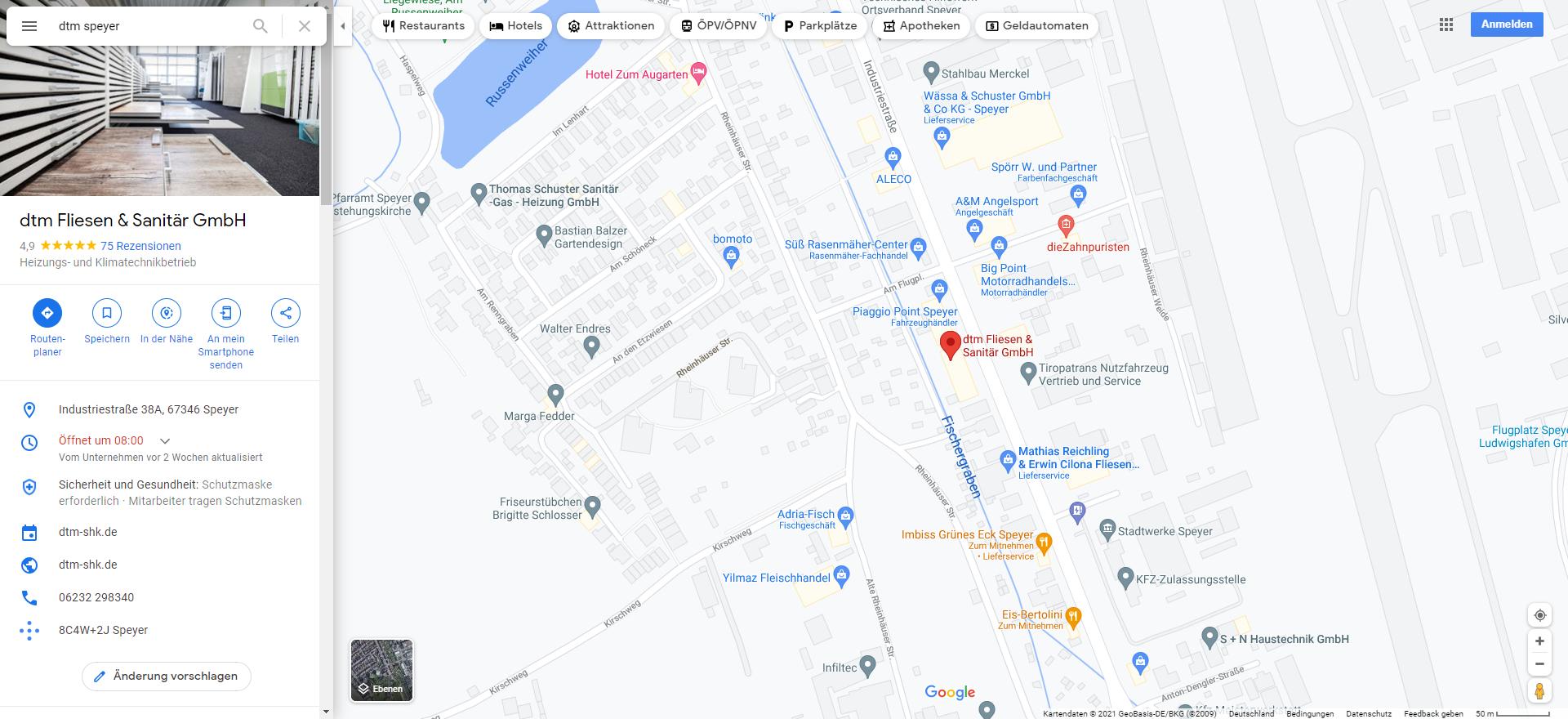 Google My Business Profil in Google Maps