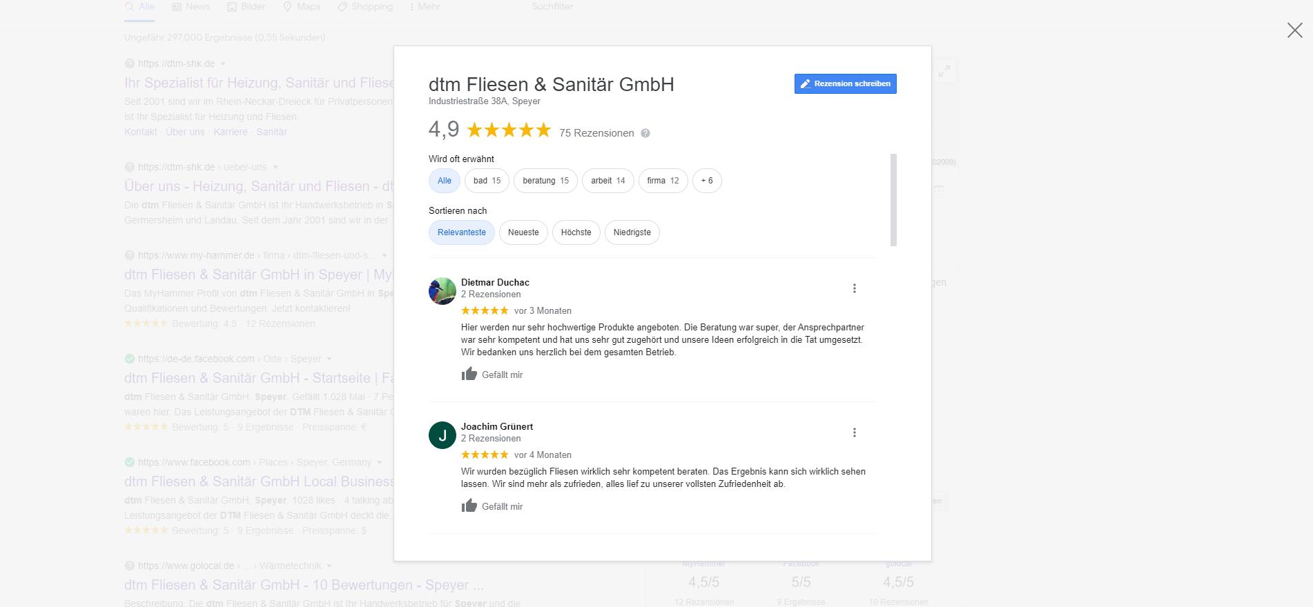 Bewertungen im Google My Business Profil